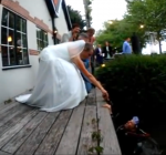 Diving for wedding rings during wedding ceremony