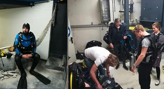 Ruud de Wild maakt live uitzending in duikaquarium Emmen