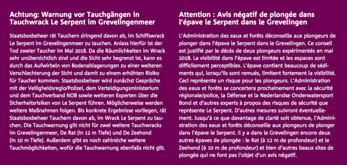 Advice not to dive on wreck Le Serpent in Holland