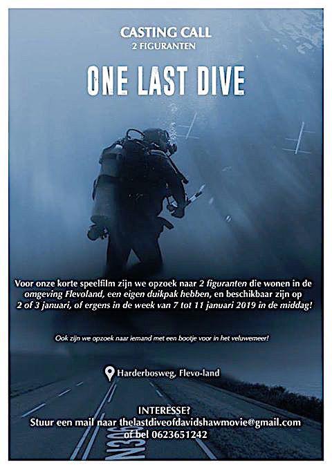 Oproep...! Duikers gezocht voor figurantenrol duikfilm