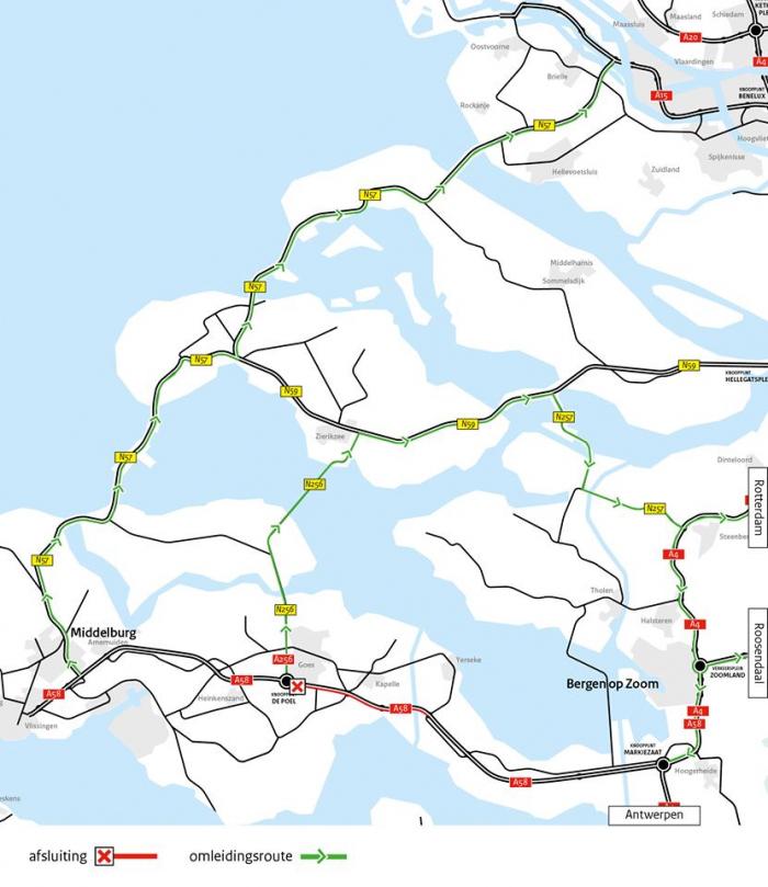 Komend weekend verkeershinder in Zeeland