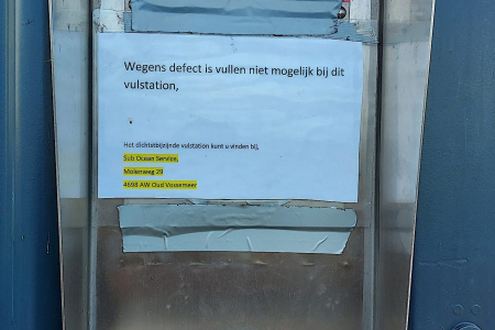 Vulautomaat Shell-Deehoeve in Tholen defect